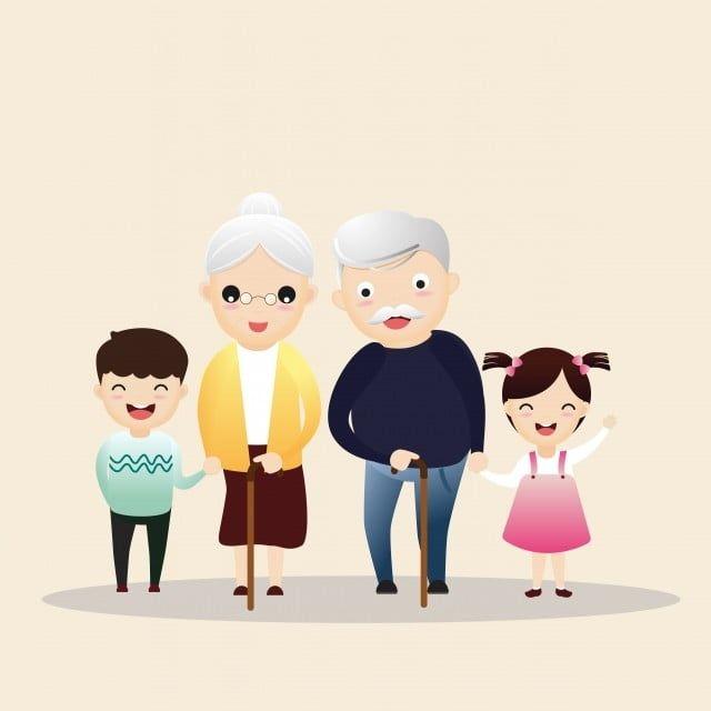 ภาพครอบคร วใหญ ม ความส ขป ย าตายายสามช วอาย คน เวกเตอร และ ว สด Png Character Couple Cartoon Family