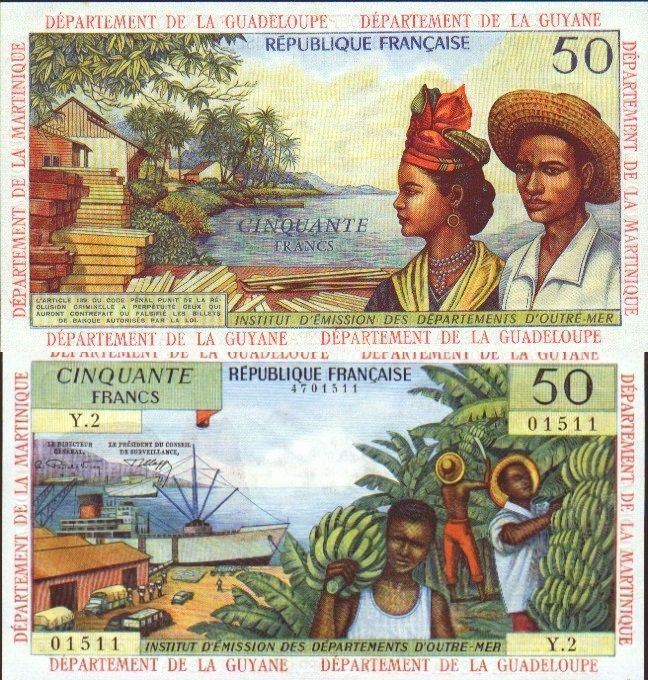 French Antilles 50 Francs ND(1964) (banana workers, ships, natives ...