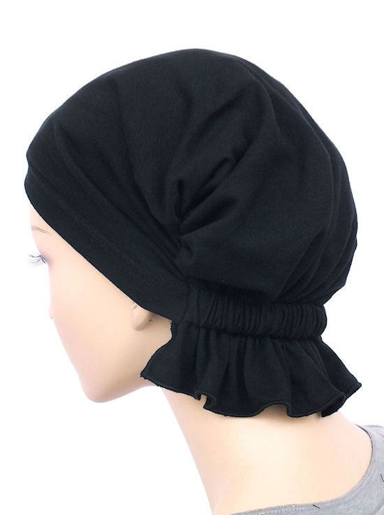 chemo beanie abbey cap in raven black cotton knit 467a
