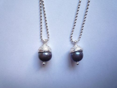 Acorn Pendant Sterling Silver, Pearl