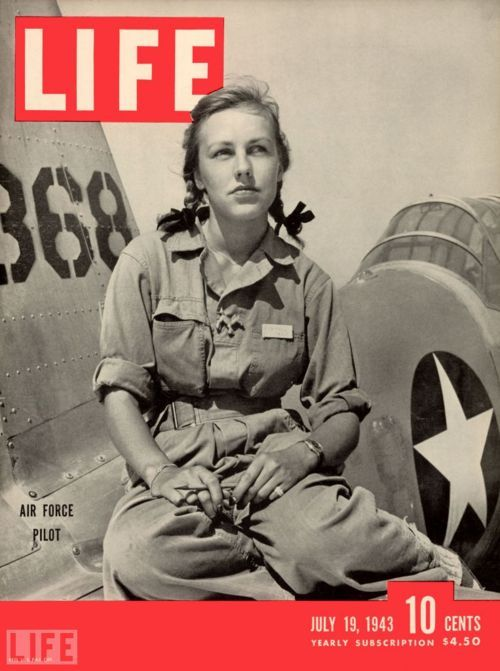 Pilot trainee Shirley Slade sits on the wing of her Army trainer at Avenger Field, Sweetwater, Texas, July 19, 1943