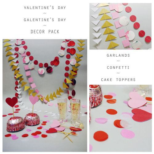 Valentine's/Galentine's day decor pack paper garlands ~ confetti ~ cake toppers  Luxury decorations by Paper Street Dolls  Check out our store - paperstreetdolls.etsy.com