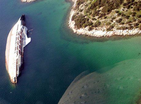 Shipwreck of the Mediterranean Sky formely known as City of York, Elefsina (Ελευσίνα), near Athens, Greece