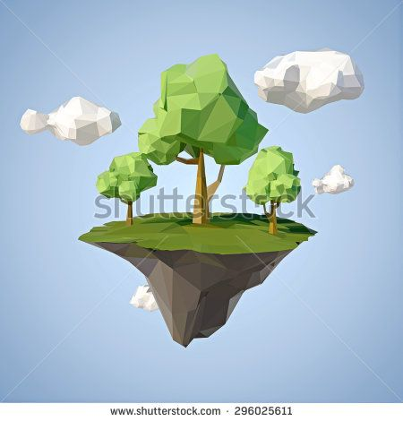 Low polygonal geometric trees and island. Abstract vector Illustration, low poly style. Stylized design element. Background design for banner, poster, flyer, cover, brochure. - stock vector