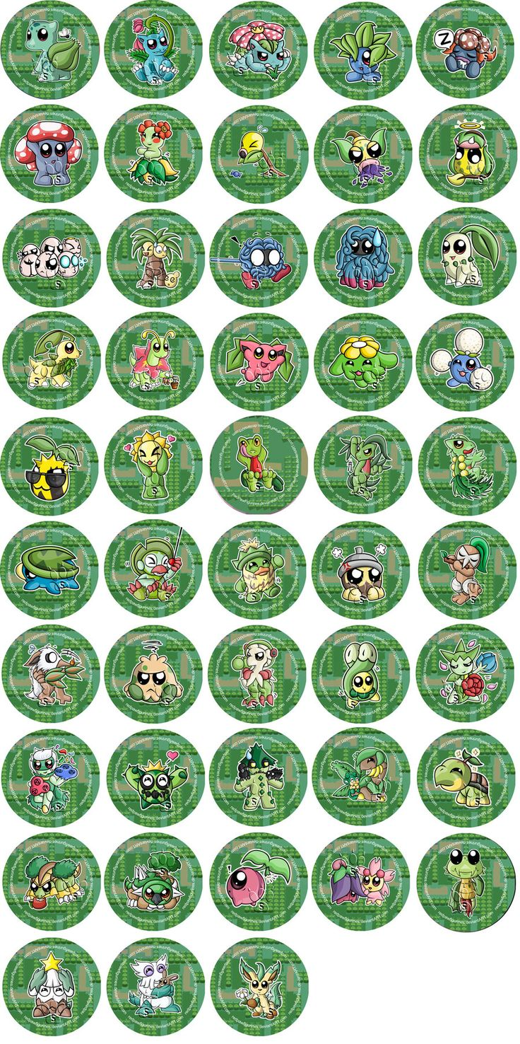 grass type pokemon badges by redpawdesigns on deviantart - Grass Type Pokemon Coloring Pages