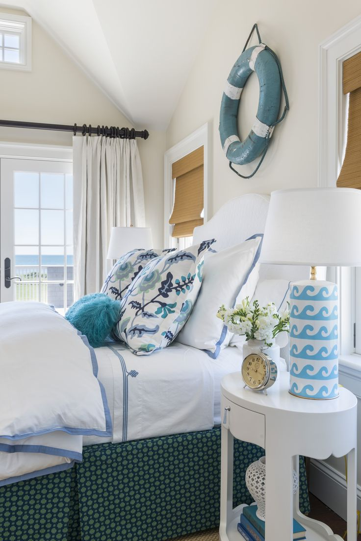Coastal Decor, Beach U0026 Nautical Decor, Crafts U0026 Shopping: Blue And White  Wave Table Lamps In An Ocean Theme Bedroom By Kate Jackson