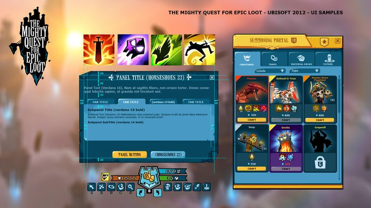 The Mighty Quest for Epic Loot (Ubisoft 2015): UI sample, graphic style
