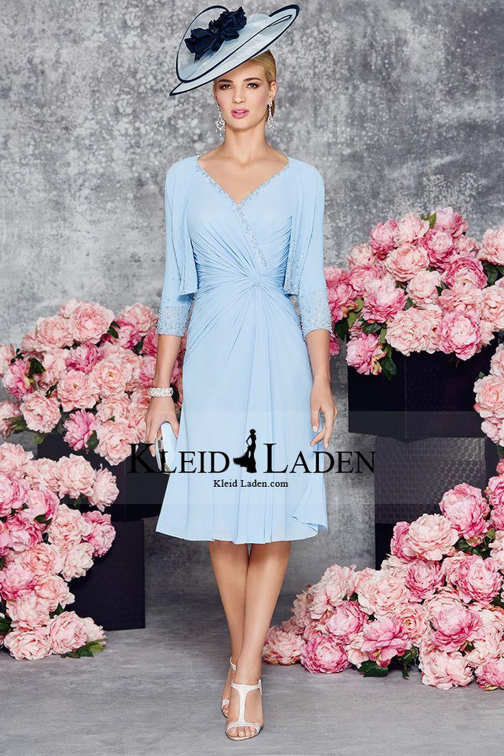 2016 Mutter der Braut-Kleid mit V-Ausschnitt Chiffon mit Rüschen und Jacke