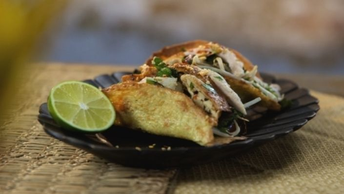 How to make the perfect Vietnamese Chicken Tacos by Reza Mahammad on Food Network UK.