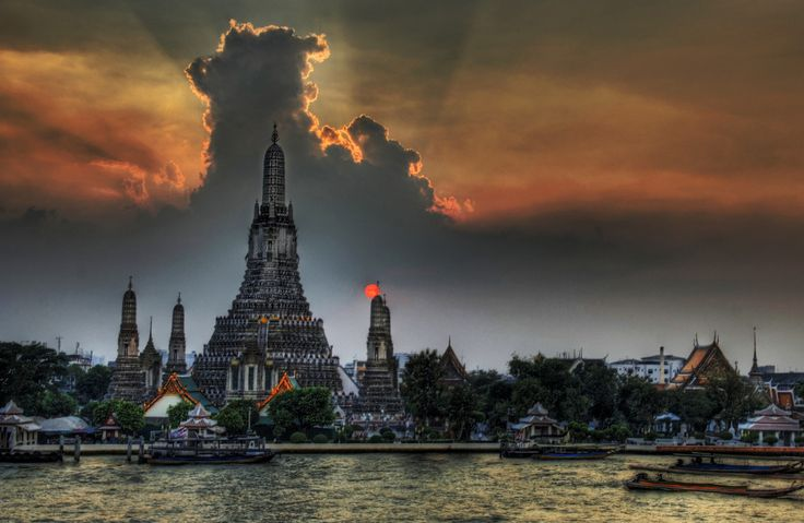 One Night in Bangkok - This picture is of Wat Arun, a famous Buddhist temple in Thailand.