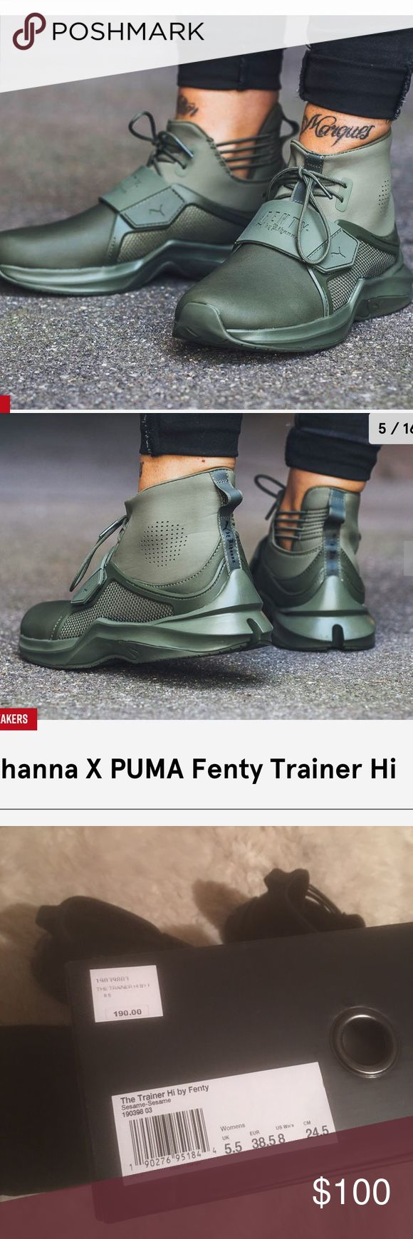 Rihanna x puma trainers Puma x Rihanna sneakers. The trainer hi. New in the box. Comes with the Fenty dust bag. Woman's sizing. $190 retail.   !! No trades / no holds / no modeling  !! Ships same day  !! Bundle to save more or make an offer using the button :)  ❗️Only photographed one color for proof of authenticity and that they are ready to ship. The shoe comes in green, nude, or black. Bundle to save. Check my page for more photos. Puma Shoes