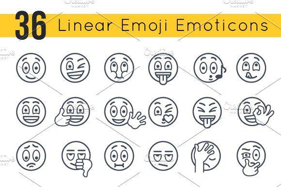 Linear Emoji Emoticons Smiley Faces by vectorikart on @creativemarket