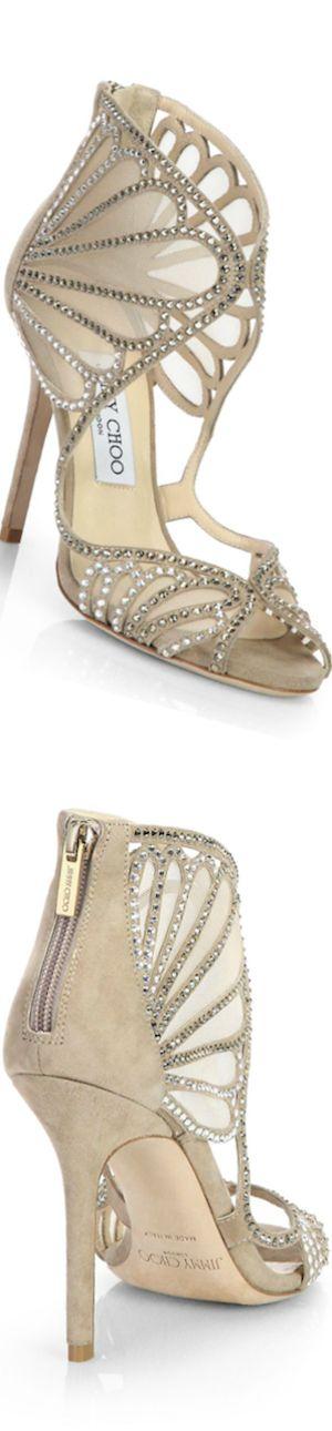 Jimmy Choo ~ Kole Crystallized Suede & Mesh Sandals