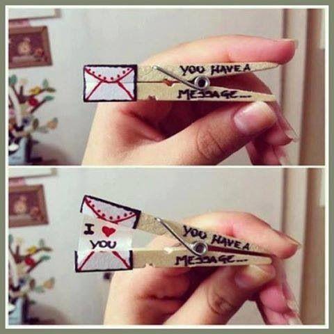Secret message with clothes pins