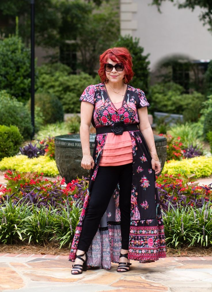 Floral Maxi Dress, Coral Ruffle Tank, Fashion over 40, Styling a maxi dress over pants, The Fab 40's, Summer Style for women, Budget Fashion Blog, Nine West Block Heel Sandals, Red Hair, Dress over pants 2017