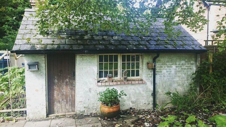 """Following on from my previous post... This is the """"shed"""" in my parents' garden. It's a (Victorian?) wash house. I think it would make the perfect tiny house! Unfortunately it's got no insulation or damp proofing and to make it habitable would be too expensive says my dad. I think it'd be great! Maybe he's just worried I might move back home! ; ) #simpleliving #minimalism #tinyhouse #shed #gardenshed #washhouse #livesimply #englishcountrygarden #kent #villagelife by treadingmyownpath"""