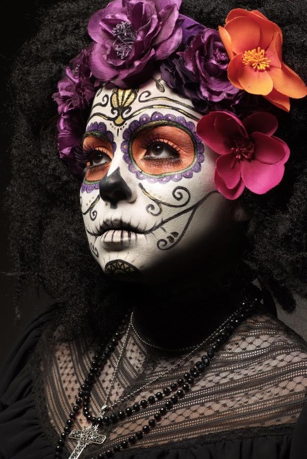Day Of The Dead dia de los muertos facepaint calavera Halloween makeup MAKE UP FOR EVER   Makeup by Melissa Nicholl www.stellardesignz.ca