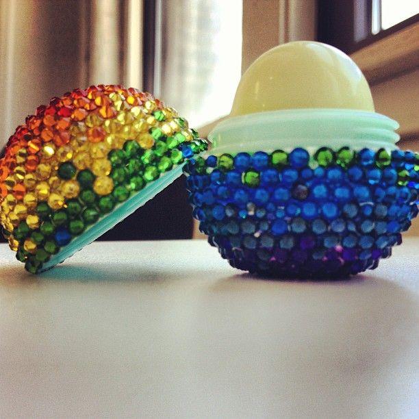 Rainbow EOS lip balm #rhinestones