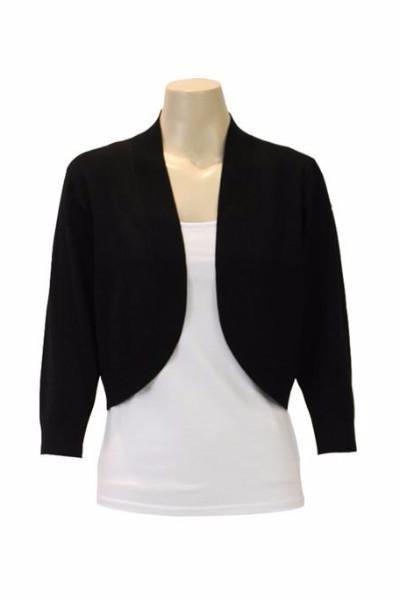 Jendi - 10-334 Knit Bolero Cardigan- Black