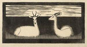 Samuel Jessurun de Mesquita (Niederländischer Maler, 1868-1944) - Zwei Gazellen liegen im Grass