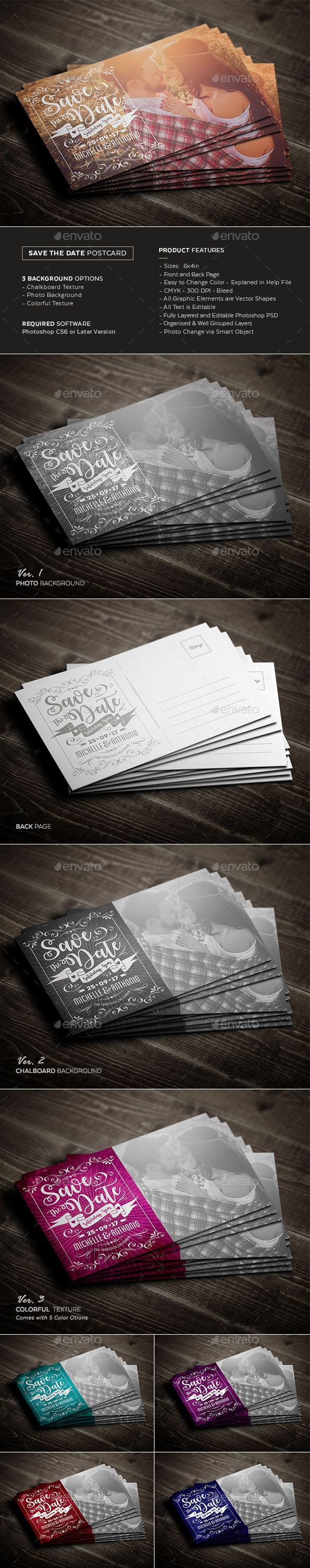 Save The Date Postcard — Photoshop PSD #chalk #texture • Download ➝ https://graphicriver.net/item/save-the-date-postcard/19429412?ref=pxcr