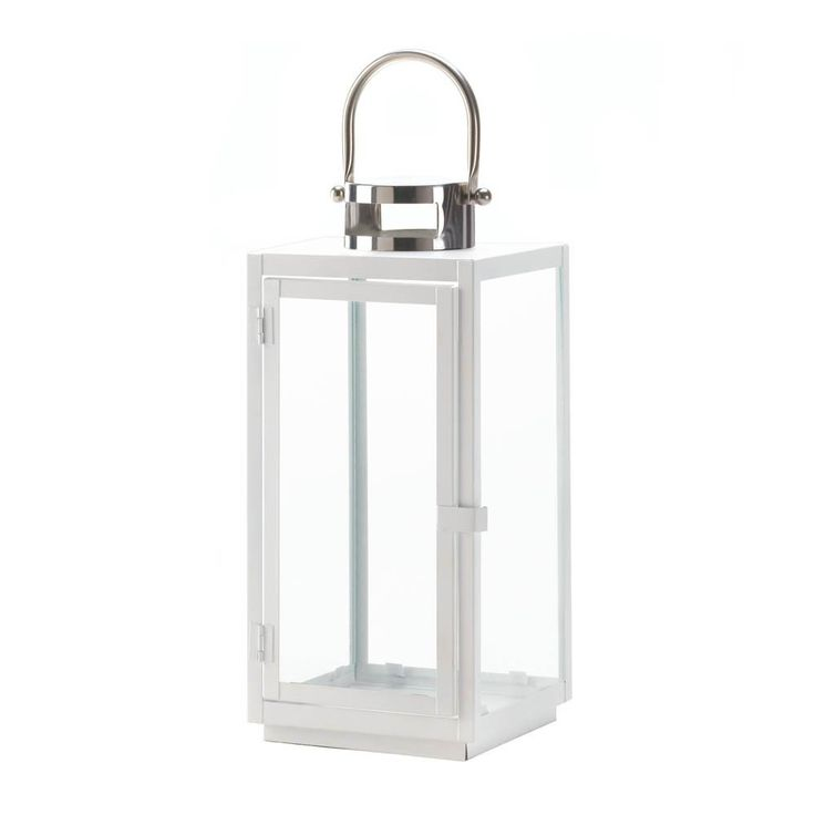 Large White Carrel Candle Lantern. Modern metal candle lantern with silver loop hanger. This contemporary lantern will make unique accent decor for any room of your home.