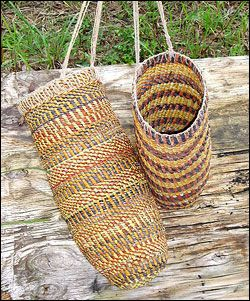 Beautiful baskets made by the Arnhem Weavers are offered for sale.