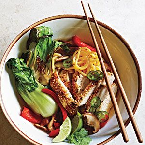 Sesame Chicken and Noodles in Mushroom Broth Recipe