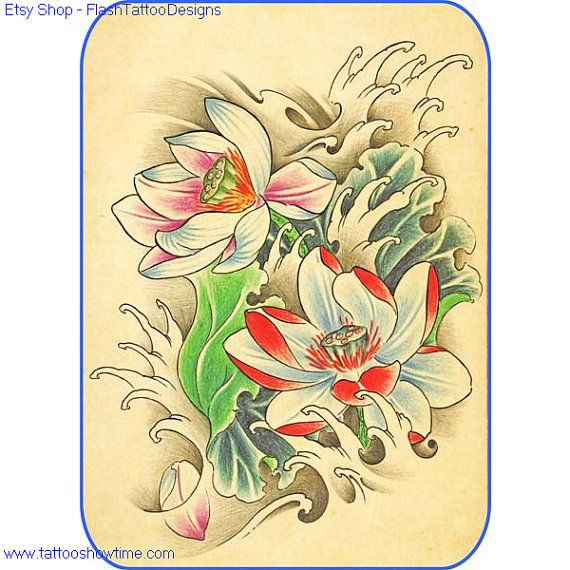 flower tattoo flash design 3 for you on etsy top quality high resolution color design with. Black Bedroom Furniture Sets. Home Design Ideas