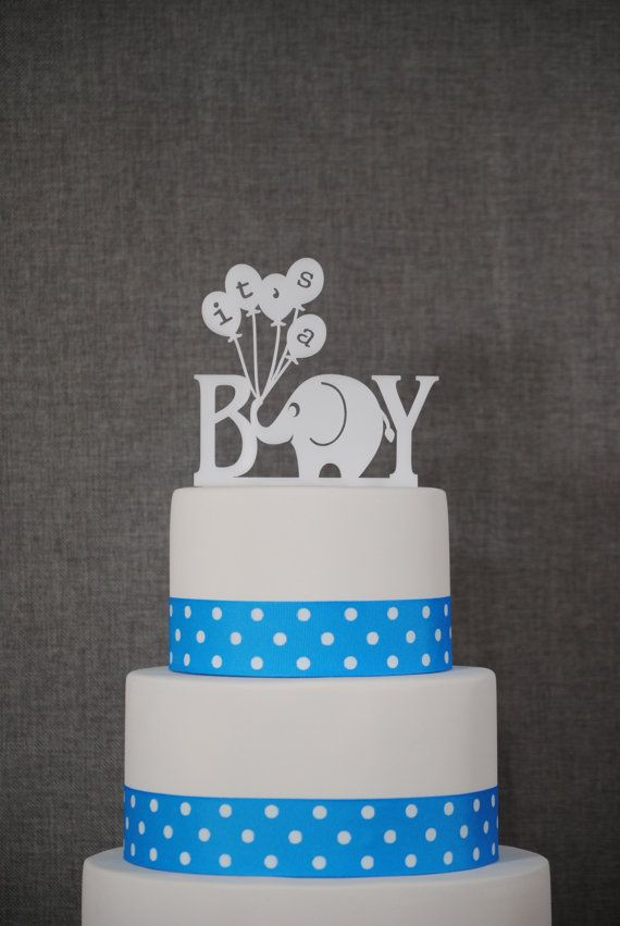 Elephant Cake Topper - Its A Boy Cake Topper by Chicago Factory via Etsy