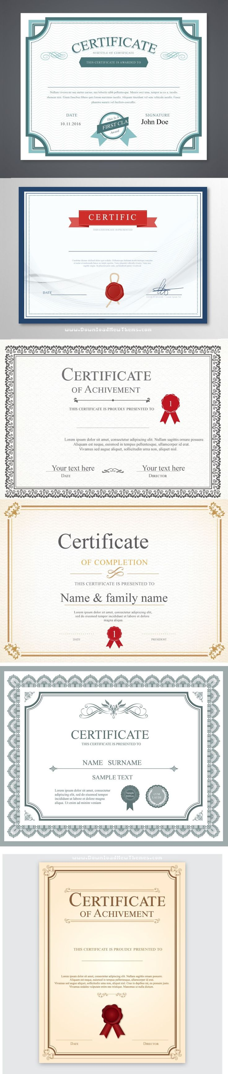 Stunning Vector certificate template 6in1 Download Now #certificates #template #graphics #design