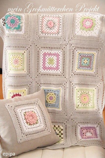 Pretty granny square crochet blanket and cushion cover - Privatsachen by epipa: Granny Projekt