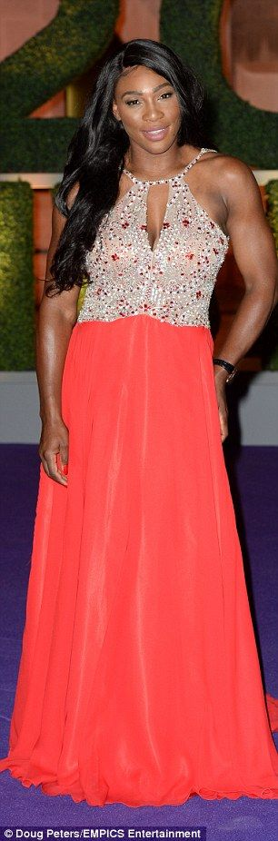 Serena Williams dazzles in a crystal encrusted red dress at Wimbledon Champions' Dinner | Daily Mail Online