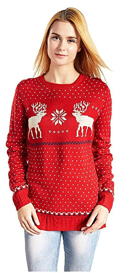 V28 Women\u0027s Christmas Reindeer Snowflakes Sweater Pullover (Tag XXL