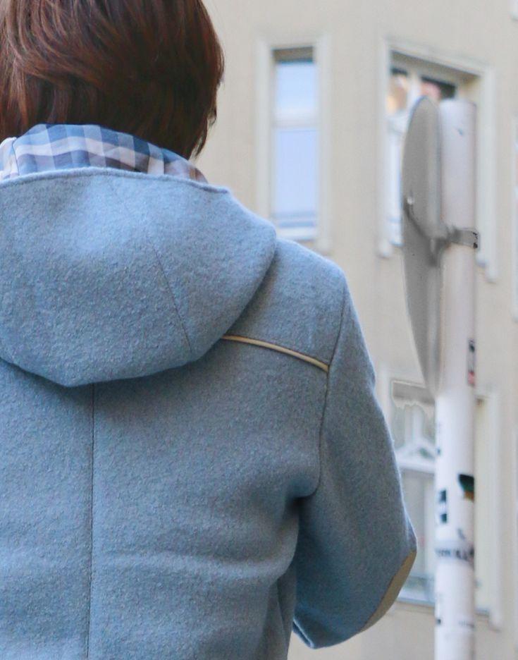 Jacke Jerika aus Walkloden mit Lederdetails - Schneidersitz