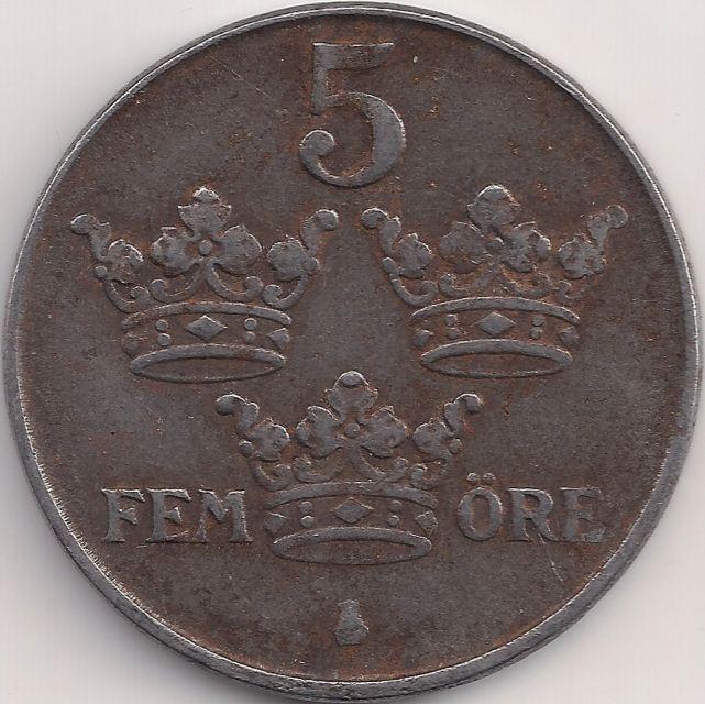 Wertseite: Münze-Europa-Nordeuropa-Schweden-Krona-0.05-1942-1950