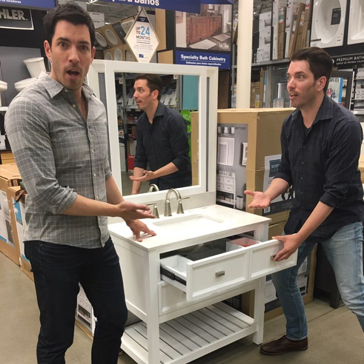 """Drew Scott on Instagram: """"NOW is the time to spruce up your bathroom design! Select #ScottLiving bathroom vanities are on sale at @loweshomeimprovement. Check the link in bio to start shopping (we promise not to tell your spouse 😏)"""" (Link: Drew.TheScottBrothers.com/)"""