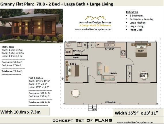 Living Area 51 8 M2 557sq Foot 2 Bedroom House Plan 78 8 Homestead Granny Flat Concept Colonial House Plans For Sale Colonial Colonial House Plans House Plans For Sale Bedroom House Plans