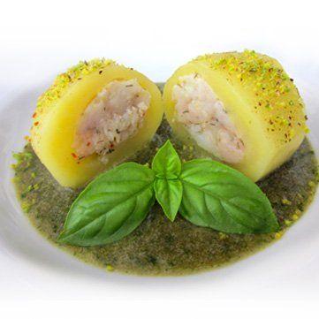 Ricetta per la realizzazione di patate farcite di pesce spada su vellutata al timo essiccato e basilico fresco, con i consigli dello chef di Fresco Pesce.