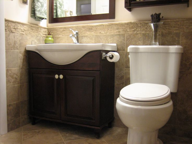 Great Espresso 2 Door Single Porcelain Washbasin Vanities Mirror And White Toto Toilet With Half Bathroom Small Half Bathroomsideas