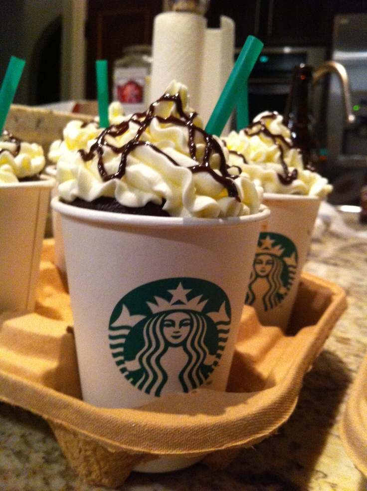 Cupcakes baked inside Starbucks Cups for coffee lover birthday