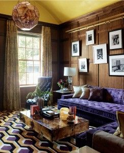 Steven Gambrel | Purple and orange living room with a mix of modern and classic styles.