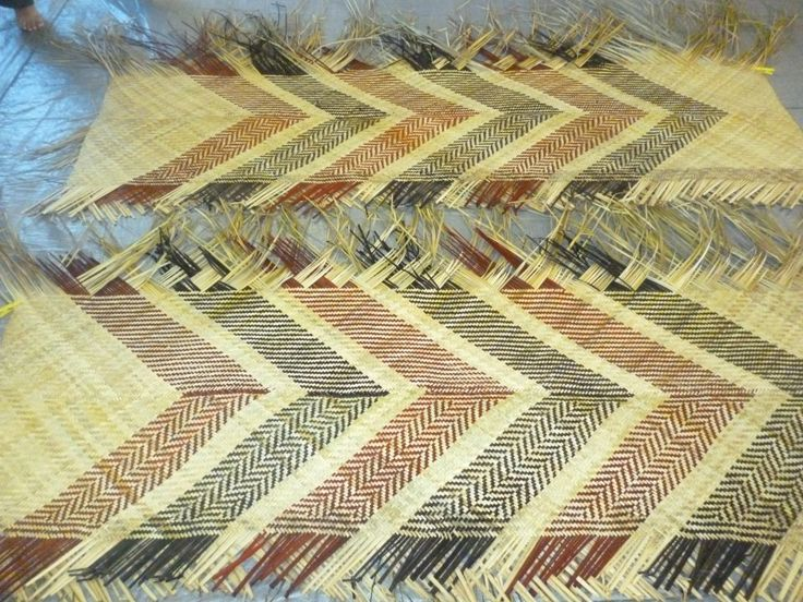 These are the whaariki (mats) that some of our whanau made, which we use at our marae for special occasions - made from harakeke (flax)