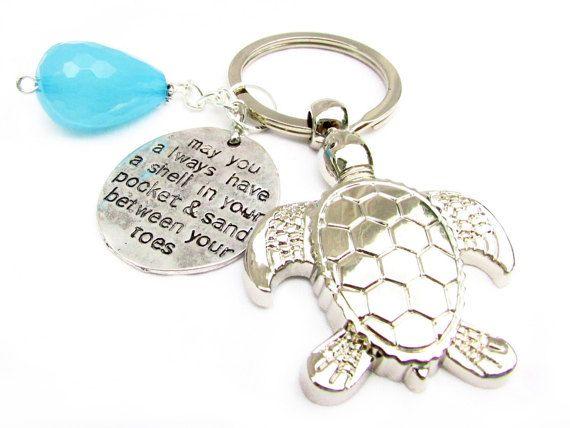 Sea Turtle Keychain, Beach Keychain, Car Accessories, Valentine Gift, Beach Keyring, Quote Keychain, Gift for Her,