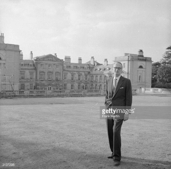 The Duke of Bedford outside Woburn Abbey where he is contemplating building a Butlin's holiday camp, as part of a scheme to help the Duke pay off death duties.