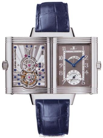 Image 1          Bookmark and Share  Jaeger LeCoultre 217.64.40 Reverso Mens Watch - Reversible Grey Dial Stainless Steel Case Blue Leather Strap Deployment Clasp Manual Winding Movement
