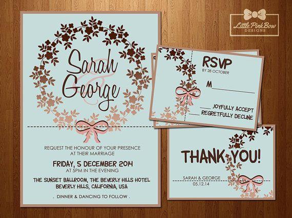 Mint Rose Gold Wedding Invitation Bundle // Mint Rose Gold Wreath, Printable // Invitation, RSVP, Thank You Card
