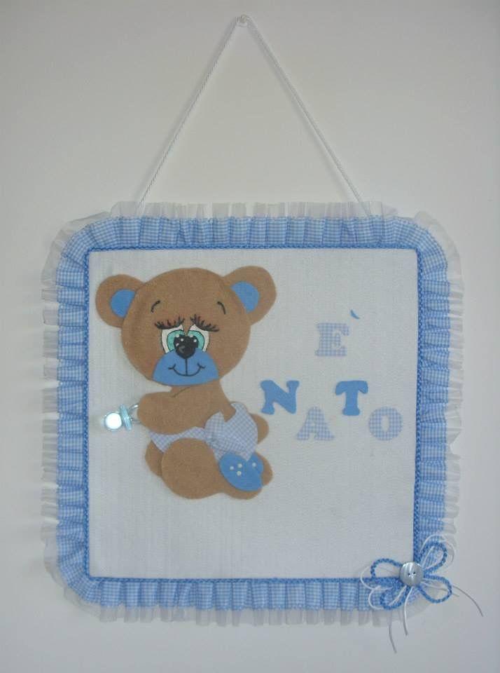 Fiocco nascita azzurro realizzato in feltro e tessuti vari