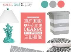 coral, teal & gray
