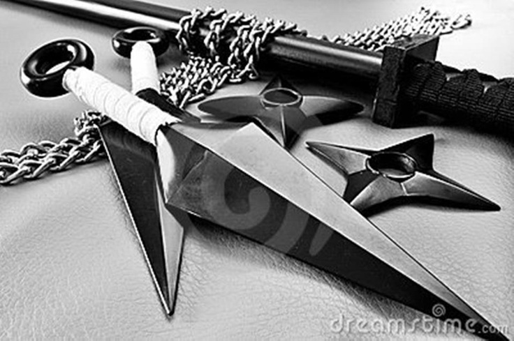 Kunai, Shurikin, Katana, and I believe Kusarigama